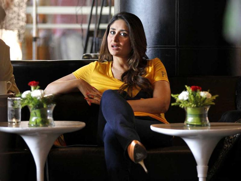 Bollywood actress Kareena Kapoor sits during a promotional event for her upcoming movie Satyagraha. (AP)