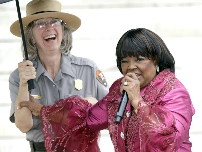 Gospel singer Shirley Caeser sings at the Let Freedom Ring ceremony at the Lincoln Memorial on Wednesday in Washington. (AP Photo)