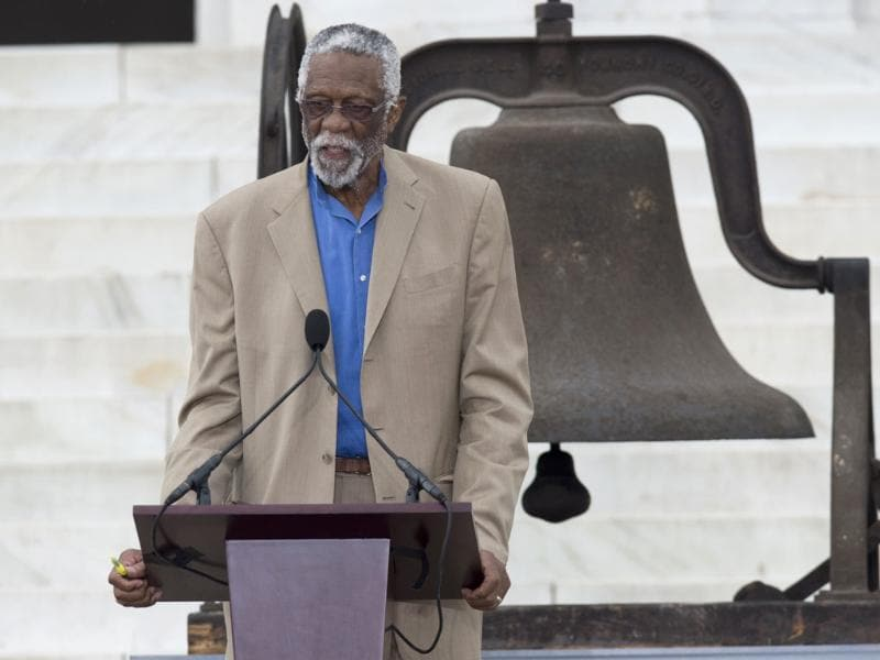 NBA basketball legend Bill Russell speaks during the Let Freedom Ring Commemoration in Washington. (AFP Photo)