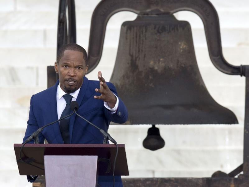 Actor Jamie Foxx speaks during the 50th anniversary celebration of the 'March on Washington for Jobs and Freedom' in Washington. (AFP Photo)