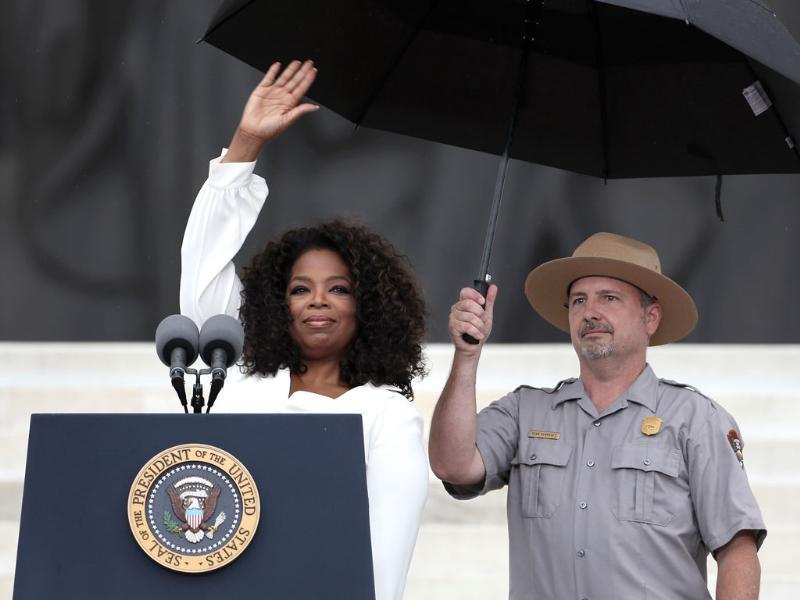 Talk show host Oprah Winfrey speaks at the Lincoln Memorial, from where Martin Luther King Jr delivered his