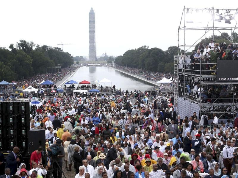 The crowd at the Lincoln Memorial for the 'Let Freedom Ring' ceremony in Washington. (Agencies Photo)