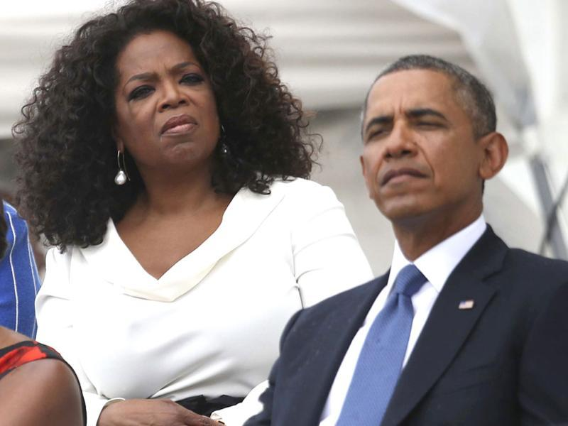 Entertainer Oprah Winfrey with US President Barack Obama in Washington to celebrate the 50th anniversary of Martin Luther King Jr's
