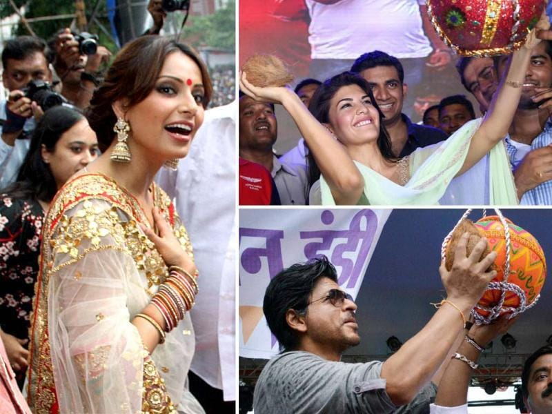 Bollywood actors Shah Rukh Khan, Bipasha Basu and Jaqueline Fernandes were spotted celebratinf Dahi handi at various spots. Take a look.