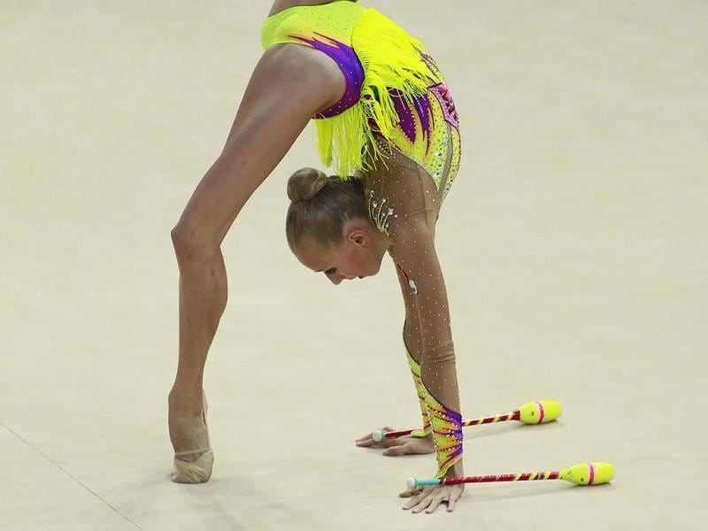 Yana Kudryavtseva of Russia performs during the individual clubs competition final at the 32nd Rhythmic Gymnastics World Championships in Kiev. REUTERS