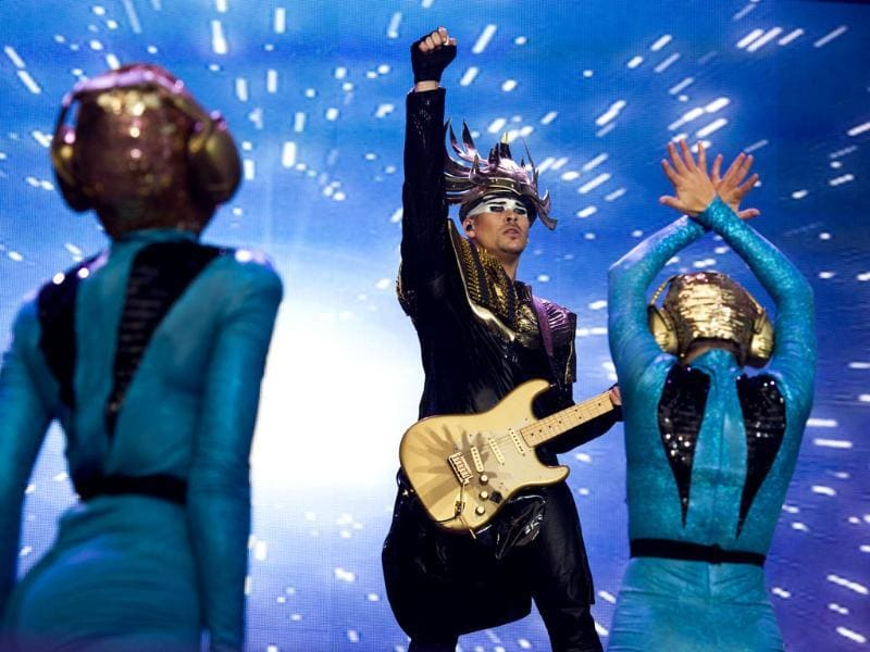 The band Empire of the Sun performs at the '2013 Budweiser Made in America Festival' in Philadelphia. (AP photo)