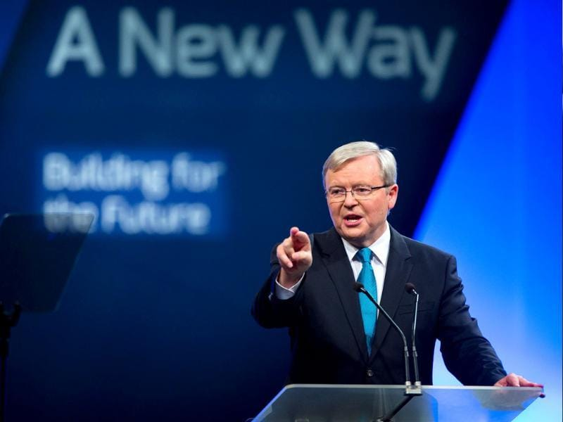 Australian Prime Minister Kevin Rudd at the official launch of the Labor Party's federal campaign in Brisbane. (AFP Photo)