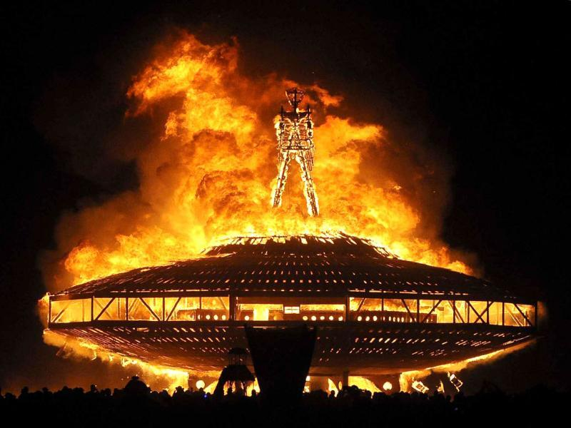 The 'Man' burns during the Burning Man outdoor art and music festival in the Black Rock Desert of northern Nevada. (AP Photo)
