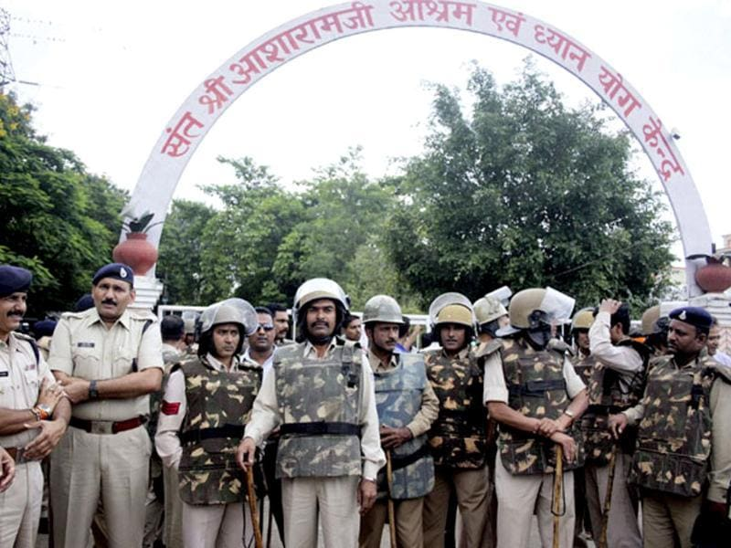 Police jawans stand guard at Asaram Bapu's Ashram in Indore. (PTI Photo)