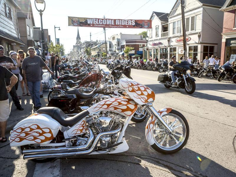 Harley-Davidson riders attend the Brady Street Block Party during the 110th Anniversary Celebration in Milwaukee, Wisconsin. (Reuters Photo)