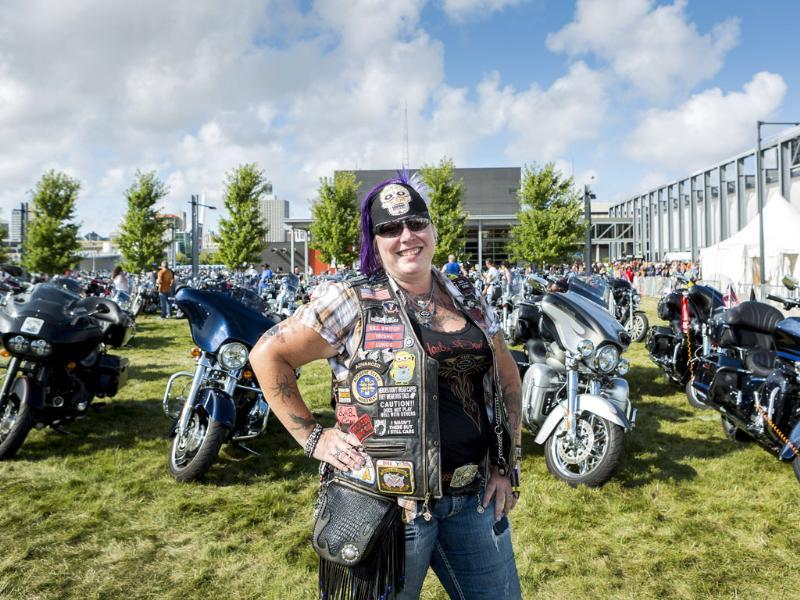 Trisha Young, of Joilet, Illinois, poses for a picture during a Harley-Davidson Museum event in Milwaukee, Wisconsin (Reuters Photo)