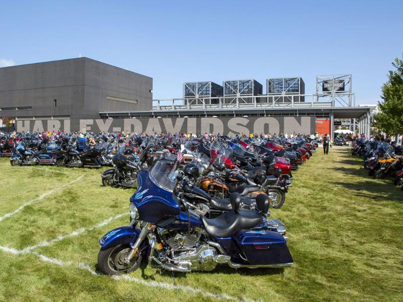 Parked motorcycles surround the Harley-Davidson Museum in Milwaukee, Wisconsin (Reuters Photo)