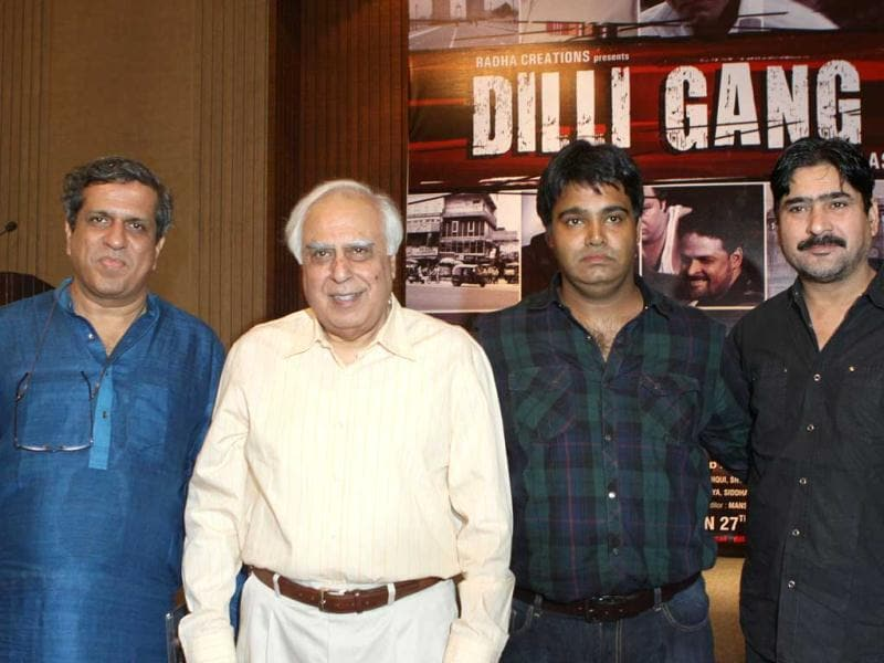 Darshan Jariwala, Kapil Sibal, Ashish Tyagi & Yashpal Sharma at the music launch. Sibal recited his poem from Dilli Gang at the event.