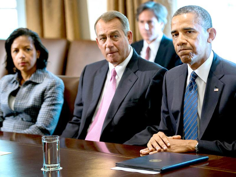 Speaker of the House John Boehner listens as US President Barack Obama delivers a statement on Syria during a meeting with members of Congress at the White House in Washington. AFP photo