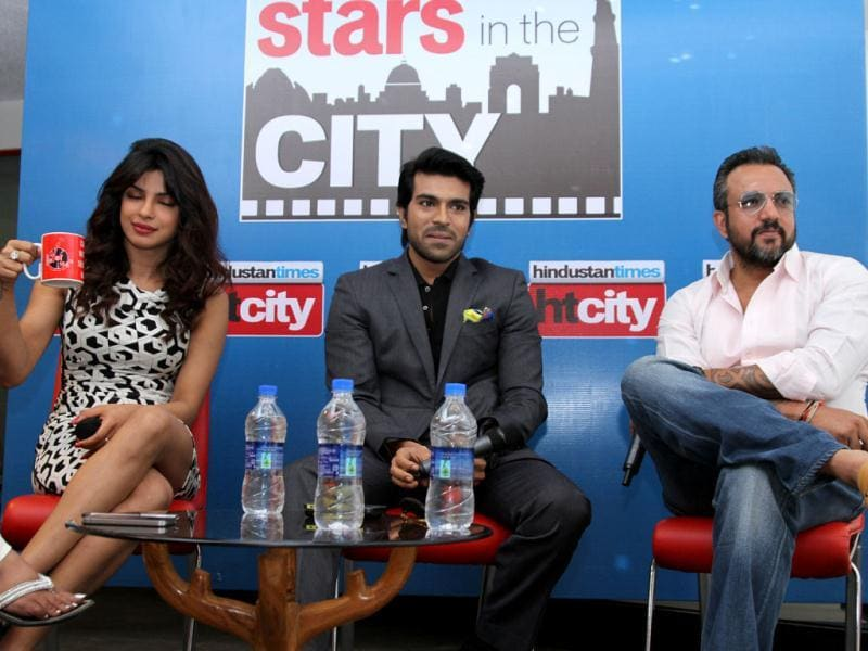 Actors Priyanka Chopra and Ram Charan Teja at HT House for promotions of Zanjeer along with director Apoorva Lakhia. (Photo: Zabeeh Afaque)