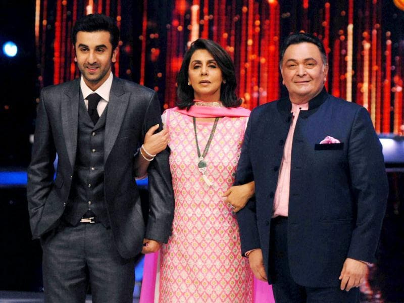 We are family: Ranbir, Neetu and Rishi.