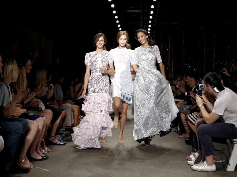 Models walk the runway at the Honor fashion show during Mercedes-Benz Fashion Week Spring 2014 at Eyebeam in New York City. AFP photo