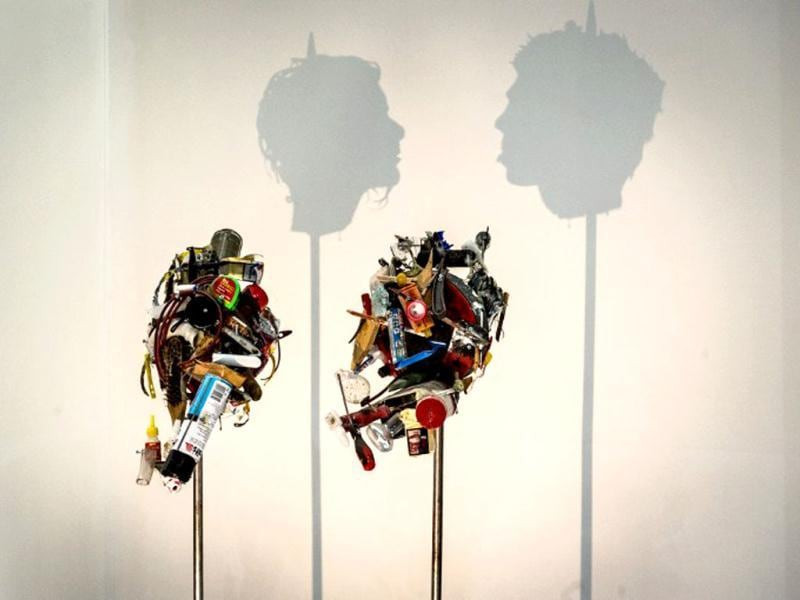 Work art made from trash by British artists Tim Noble and Sue Webster displayed during ArtRio, the International Art Fair of Rio de Janeiro, Brazil. (AFP Photo)