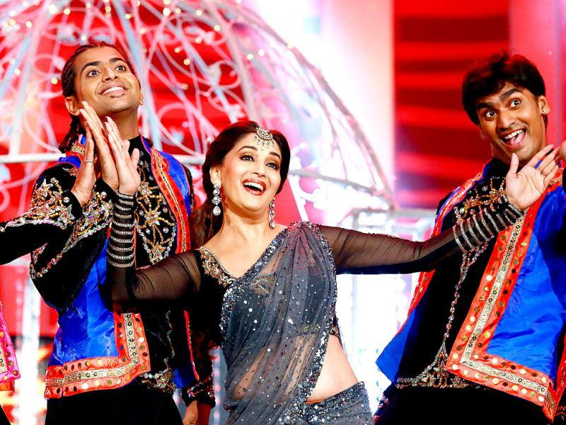 Madhuri Dixit Nene performs during the first cross cultural awards ceremony the 2013 South Africa India Film and Television Awards (SAIFTA) in Durban.   AFP photo
