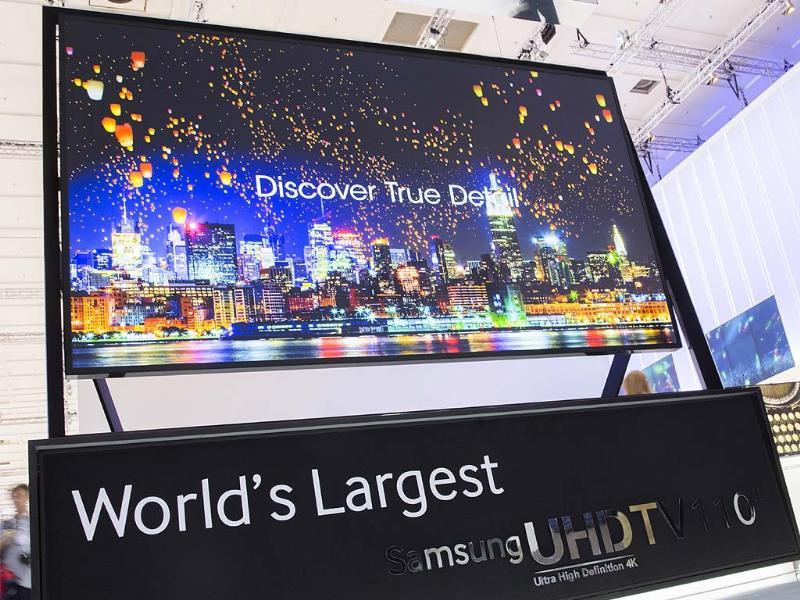 A 110 inch Ultra High Definition 4K television screen is displayed on the Samsung booth at IFA, one of the world's largest trade fairs for consumer electronics and electrical home appliances, in Berlin. Photo: AP/Gero Breloer