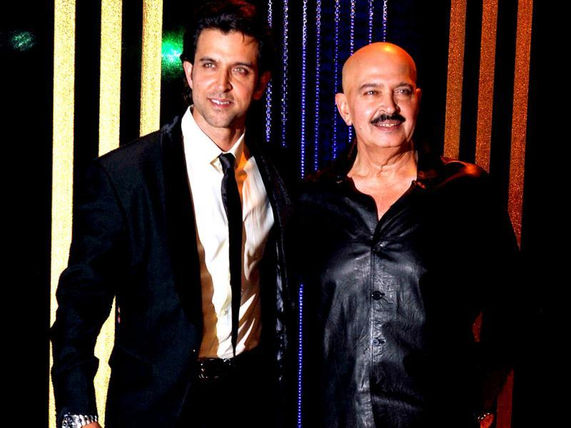 Father son duo - Hrithik Roshan, Rakesh Roshan pose for the lenses. (AFP Photo)