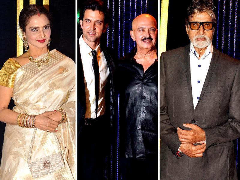 Bollywood stars dazzled as actor Hrithik Roshan organised a party for dad Rakesh Roshan on his 64th birthday. Rekha looked gorgeous in her classic sari while other actors like Amitabh Bachchan, Sridevi, Javed Akhtar, Shilpa Shetty and several others added glamour to the bash. Browse through
