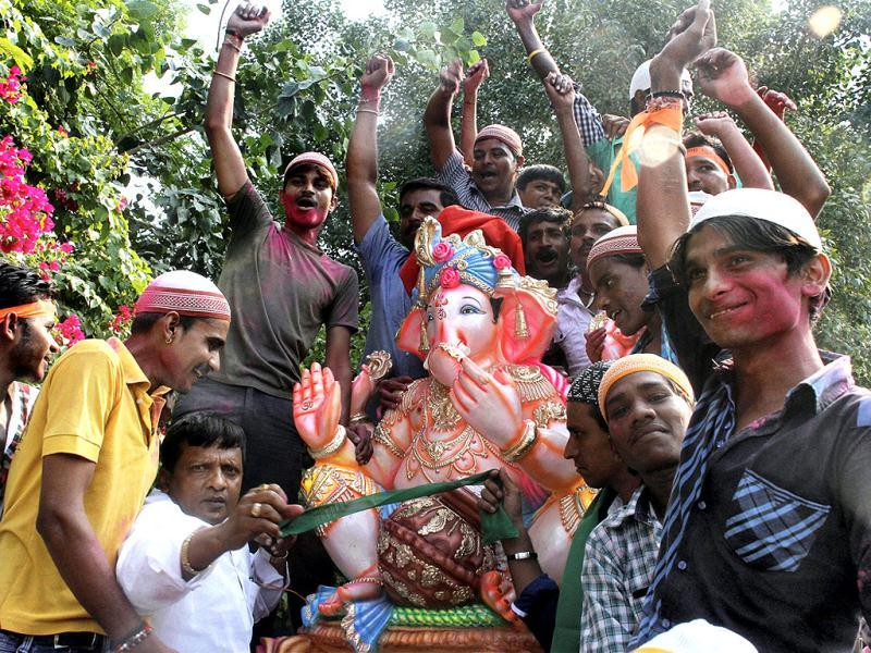 Muslims take part in Ganesh Chaturthi procession in Ahmedabad. (PTI Photo)