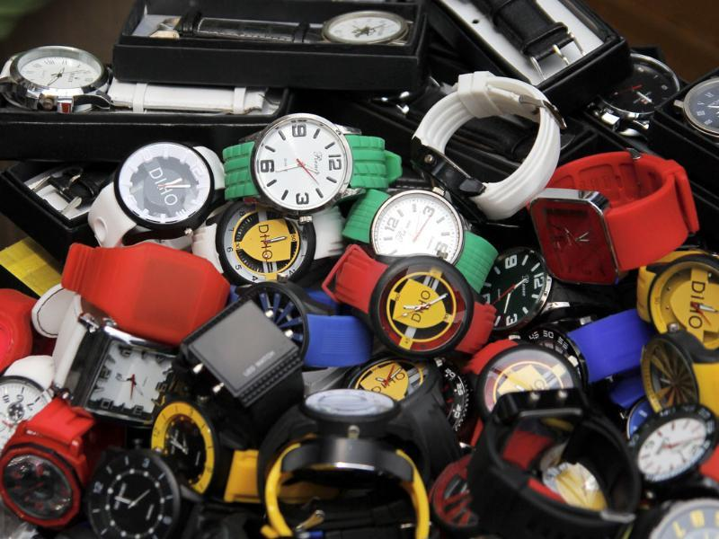 Modern watches of different hues and fashions on display at a watch shop. (Subrata Biswas/ HT Photo)