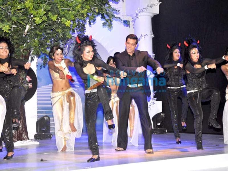 Salman Khan shakes a leg at the launch of Bigg Boss 7.
