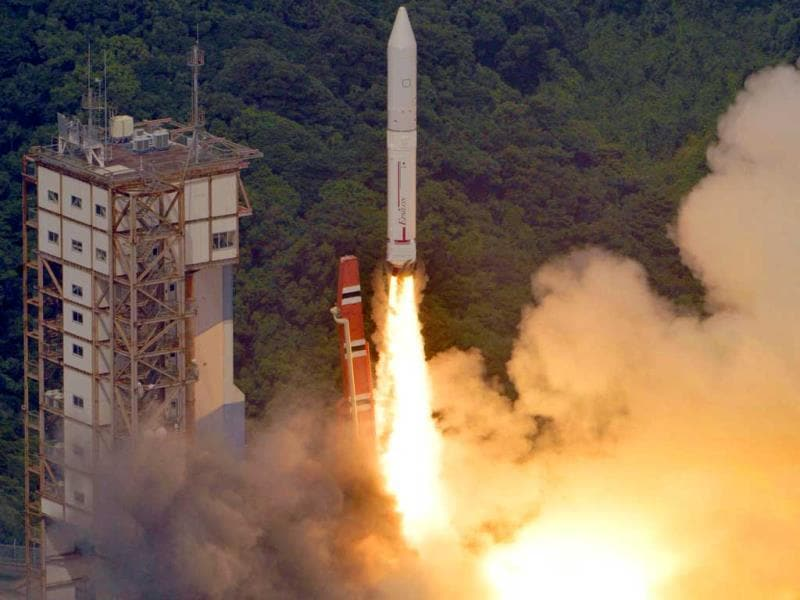 An Epsilon rocket lifts off from the Uchinoura Space Center in Kimotsuki town in western Japan. (AP Photo/Kyodo News)