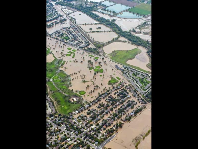 An extended area of Longmont, Colorado, seen submerged as flooding continues to devastate the Front Range. (AP Photo)