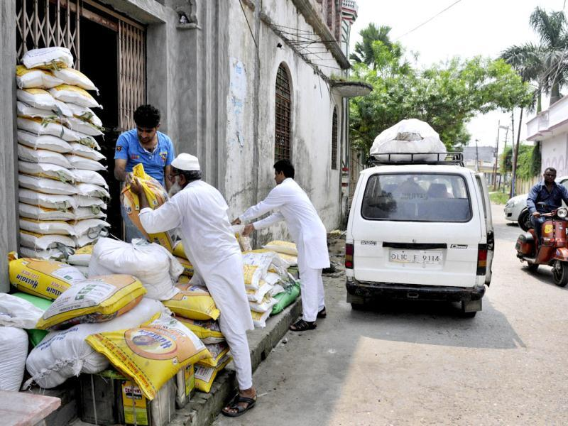 The food material collected by the residents of area being stored in the Masjid for the riots affected victims of communal violence in Muzaffarnagar. (Sushil Kumar/HT)