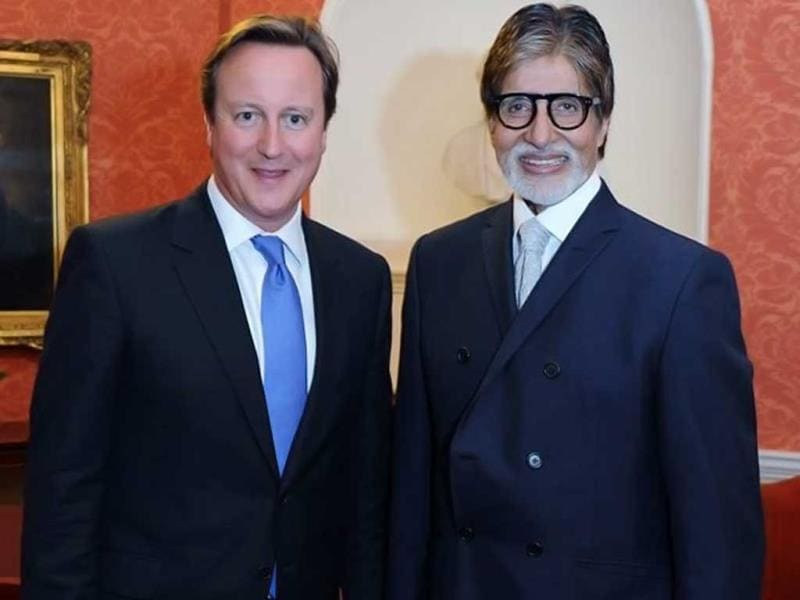 Amitabh Bachchan poses with British PM David Cameroon. (Photo: Facebook/SrBachchan)