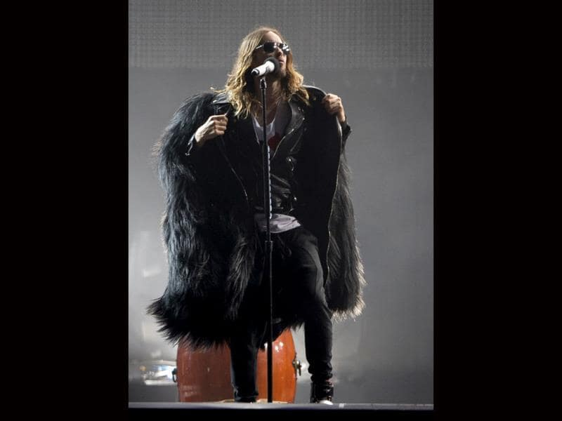 Jared Leto of 30 Seconds To Mars performs at the annual Rock in Rio music festival in Brazil. (AP Photo)