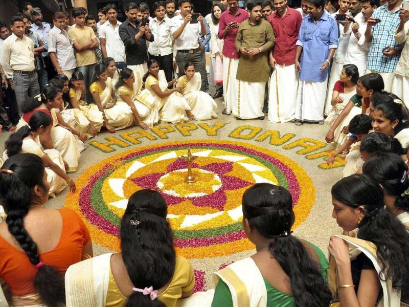 Students celebrate Onam festival by decorating