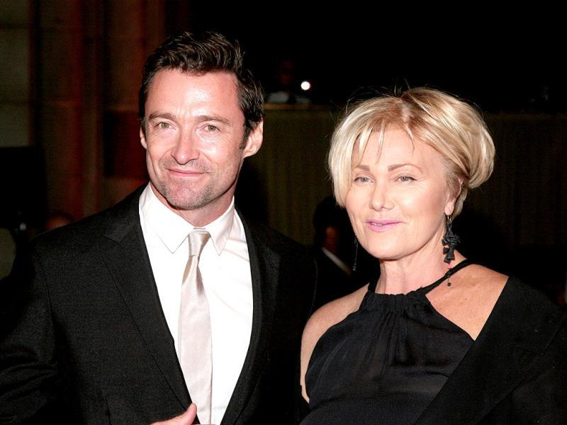 Actor Hugh Jackman, left, and his wife, actress Deborra-Lee Furness, right, attend the New Yorkers For Children Fall Gala 2013 in New York. (AP Photo)