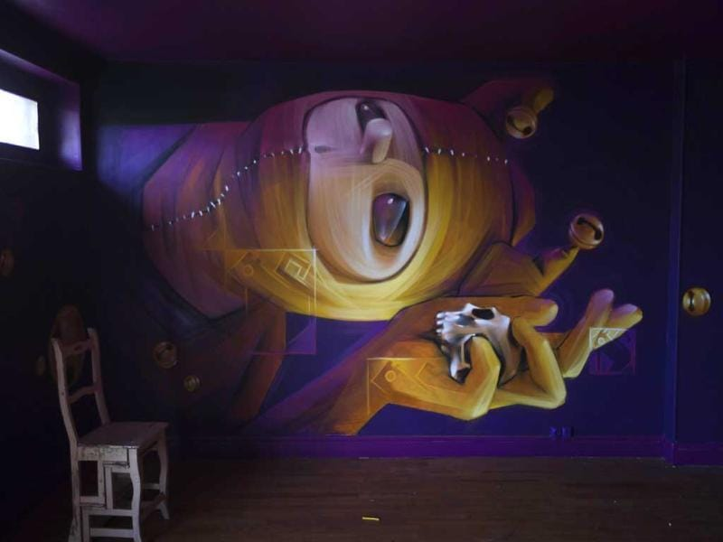 A street art work by Chilean artist chilien Inti inside the building known as