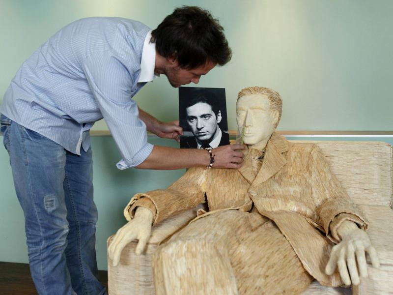 A life-size sculpture of Hollywood actor Al Pacino that is made of 117,000 matches by Tomislav Horvat is kept in his studio in Podturen, north Croatia. Reuters photo