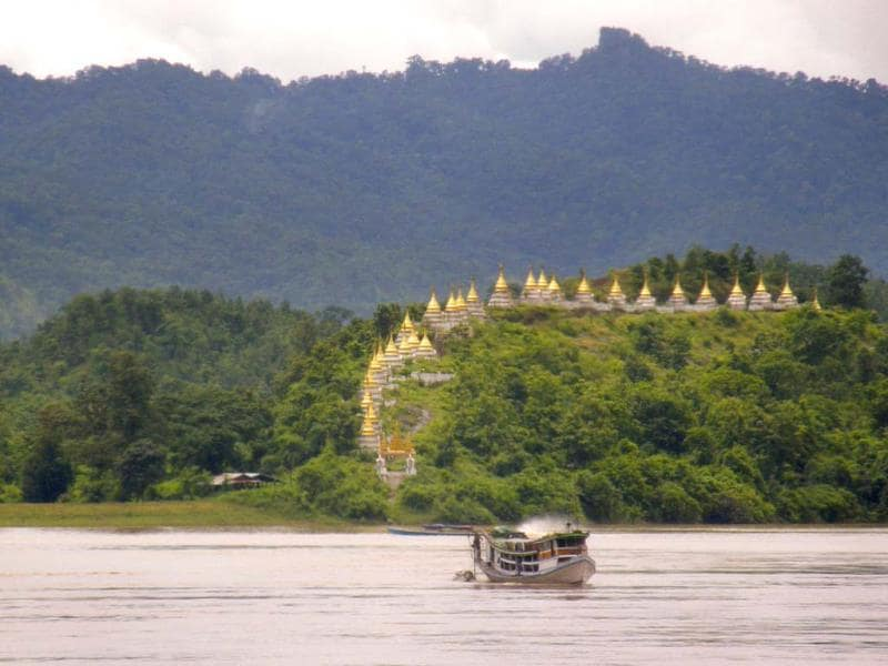 Golden spires of Massein monastery are seen on the banks of Myanmar's upper Chindwin river. Photo:AP/Cynthia NeJame