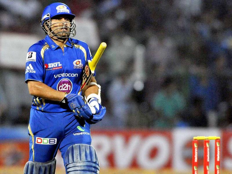 Mumbai Indians batsman Sachin Tendukar out caught behind during the Mumbai-Rajasthan Champions League Twenty20 match at Sawai Mansingh Stadium in Jaipur. (Mohd Zakir / HT Photo)