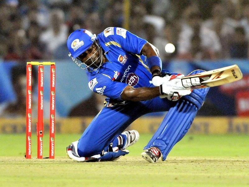 Mumbai Indians batsman Keiron Pollard in action against Rajasthan Royals during their Champions League Twenty20 match at Sawai Mansingh Stadium in Jaipur. (Mohd Zakir/ HT Photo)
