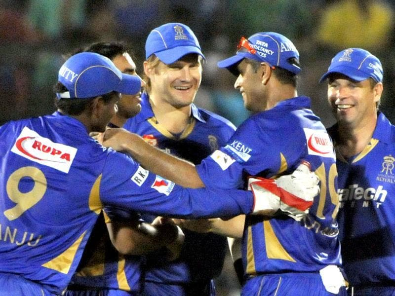 Rajasthan Royals team members celebrate the wicket of Mumbai Indians batsman Keiron Pollard during their Champions League Twenty20 match at Sawai Mansingh Stadium in Jaipur. (Mohd Zakir/ HT Photo)