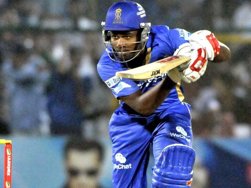 Rajasthan Royals batsman Sanju Samson in action against Mumbai Indians during their Champions League Twenty20 match at Sawai Mansingh Stadium in Jaipur. (Mohd Zakir/ HT Photo)
