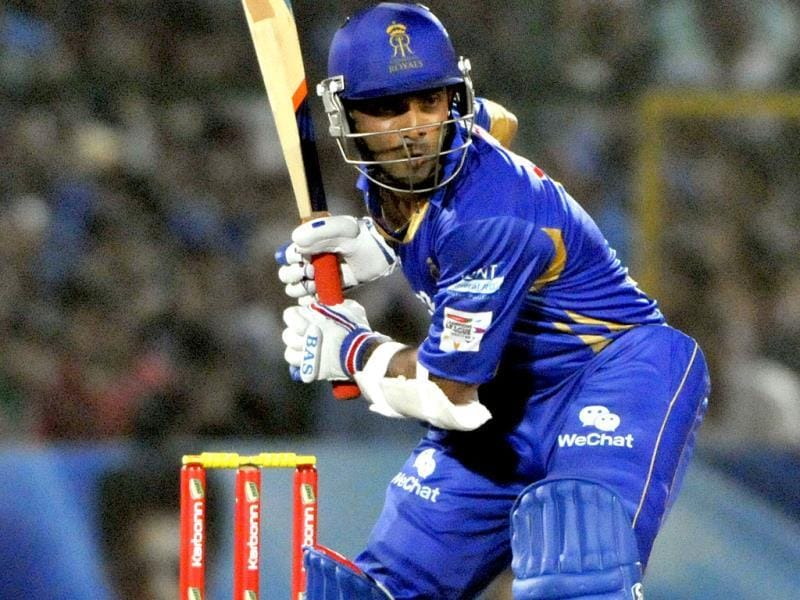 Rajasthan Royals batsman Ajinkya Rahane in action against Mumbai Indians during their Champions League Twenty20 match at Sawai Mansingh Stadium in Jaipur. (Mohd Zakir/ HT Photo)