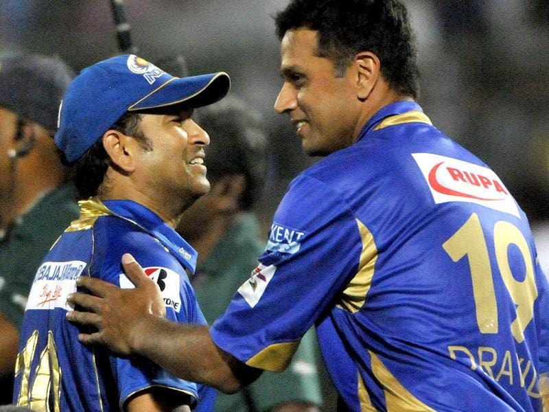 Mumbai Indians batsman Sachin Tendulkar and Rajasthan Royals captain Rahul Dravid shake hands after Rajasthan Royals won their Champions League Twenty20 match against Mumbai Indians at Sawai Mansingh Stadium in Jaipur. (Mohd Zakir/ HT Photo)