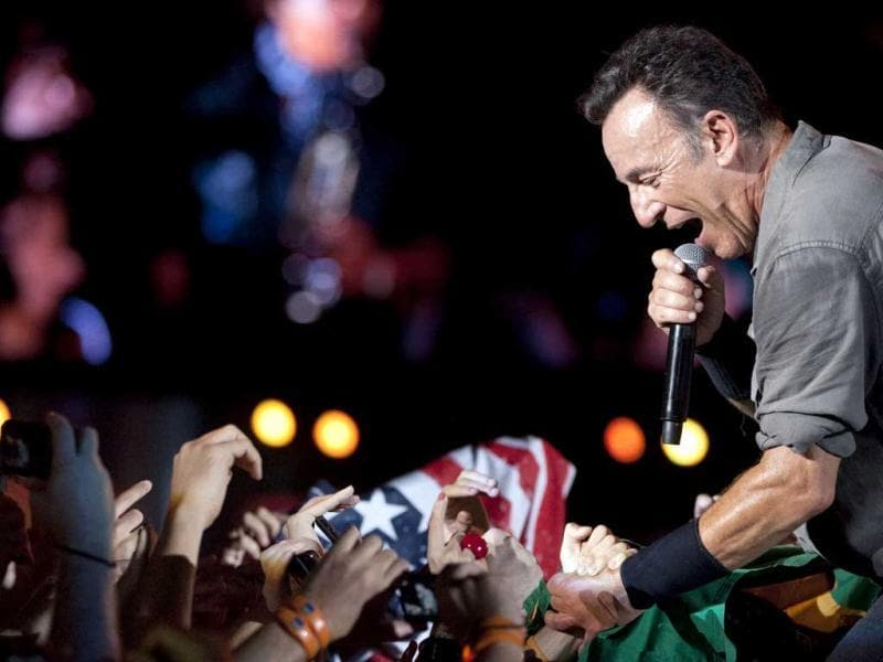 Bruce Springsteen performs among fans during the Rock in Rio music festival in Rio de Janeiro, Brazil. (AP Photo)