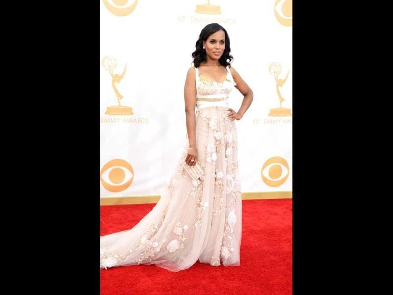 Actress Kerry Washington arrives at the 65th Annual Primetime Emmy Awards held at Nokia Theatre L.A. (AFP Photo)