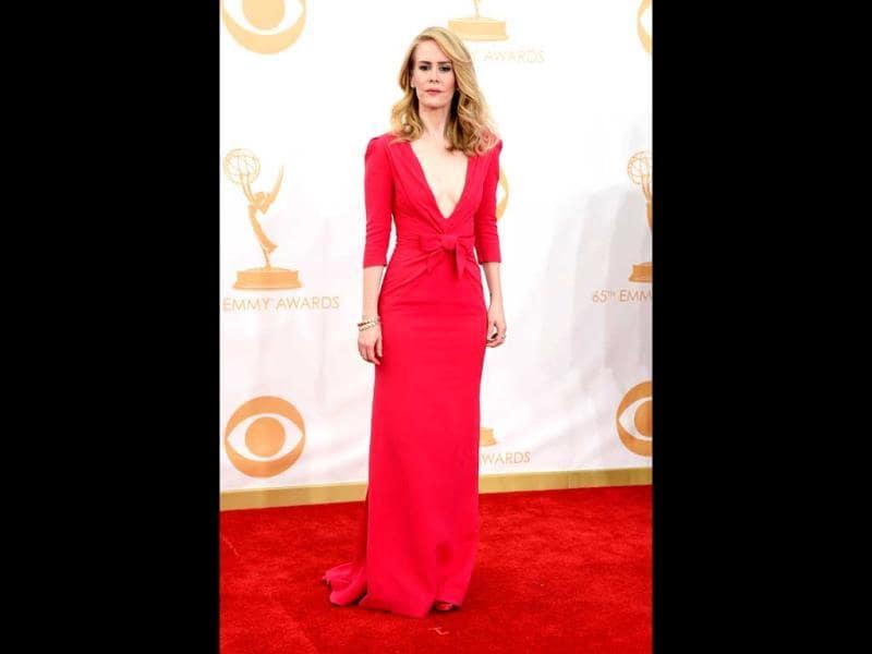 Actress Sarah Paulson arrives at the 65th Annual Primetime Emmy Awards. (AFP Photo)