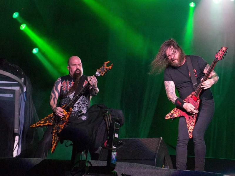 Kerry King and Gary Holt of US thrash metal band Slayer perform during the final day of the Rock in Rio music festival in Rio de Janeiro, Brazil. (AFP Photo)