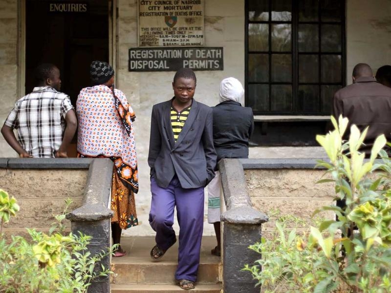 Relatives of victims of Saturday's attack at the Westgate mall in Nairobi wait at the city morgue. (AP Photo)